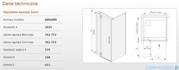 Sanplast kabina narożna kwadratowa lewa przejrzysta KNDJ2L/AVIV-80 80x80x203 cm 600-084-0020-42-401
