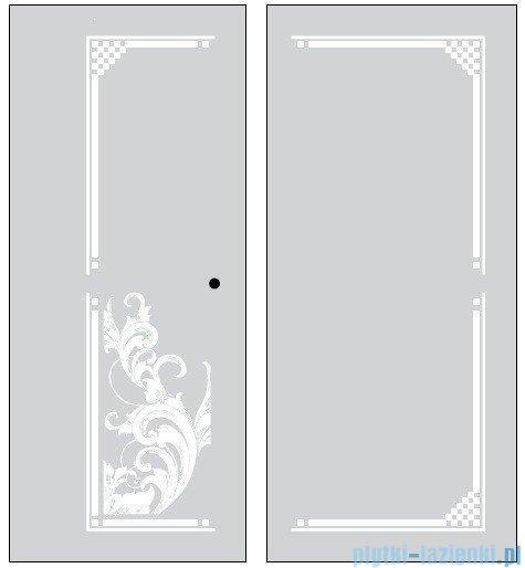 Kerasan Kabina kwadratowa prawa, szkło dekoracyjne piaskowane profile złote 100x100 Retro 9149P1