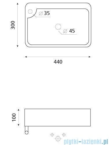 Bathco umywalka podwieszana z relingiem Javea 44x30 cm 4903