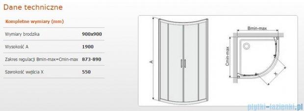 Sanplast kabina narożna półokrągła KP4/TX5b-90 90x90x190 cm szkło Grey 600-271-0262-38-501