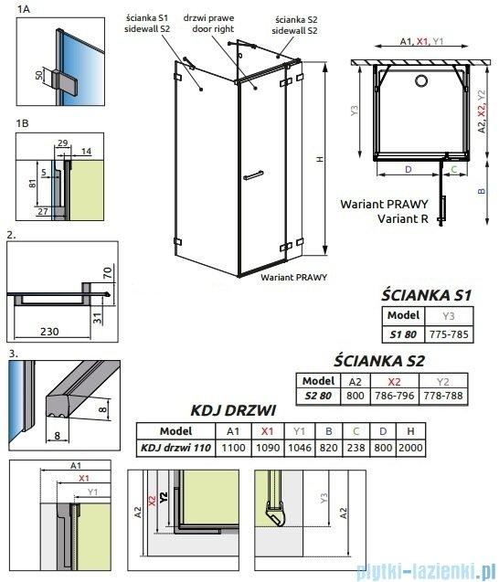 Radaway Euphoria KDJ+S Kabina przyścienna 80x110x80 prawa szkło przejrzyste 383023-01R/383051-01/383031-01