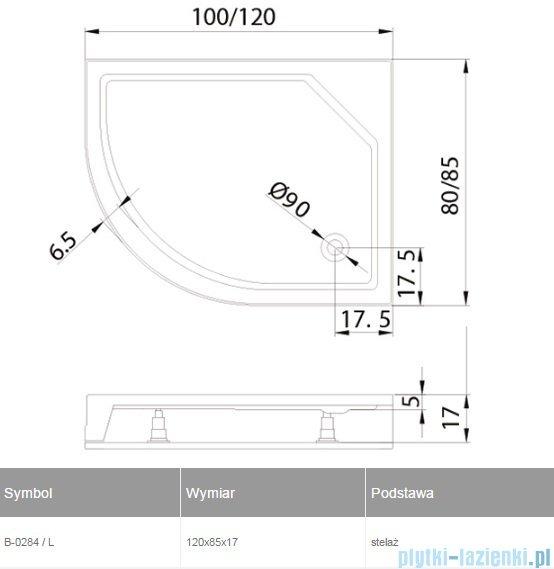 New Trendy New Maxima brodzik asymetryczny ze zintegrowaną obudową 120x85x17cm lewy B-0284