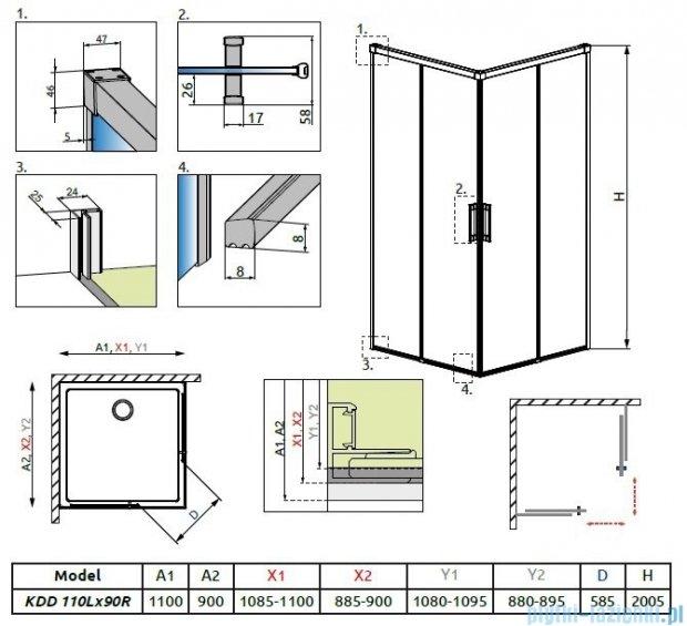 Radaway Idea Kdd kabina 110x90cm szkło przejrzyste 387063-01-01L/387060-01-01R