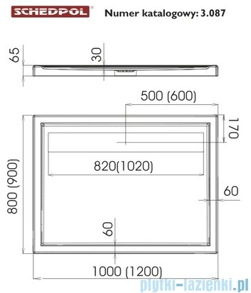 Schedpol Camparo Brodzik prostokątny z klapką odpływu 100x90x6,5cm 3.087/P