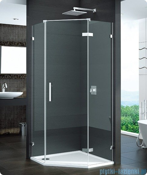 SanSwiss Pur PUR51 Drzwi 1-częściowe do kabiny 5-kątnej 45-100cm profil chrom szkło Efekt lustrzany Prawe PUR51DSM11053