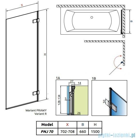 Radaway Arta Pnj parawan nawannowy 70cm prawy szkło przejrzyste 210101-01R