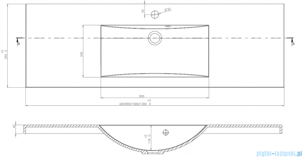 Antado Clever Umywalka dolomitowa 80x39 cm UMMC-800X390