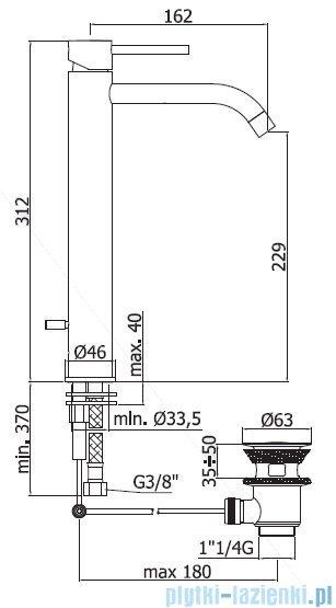 Paffoni Light bateria umywalkowa z korkiem automatycznym wysoka chrom LIG085