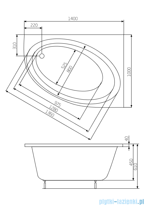 Roca Orbita wanna 140x100cm prawa z hydromasażem Effects Gold Opcja A24T199000