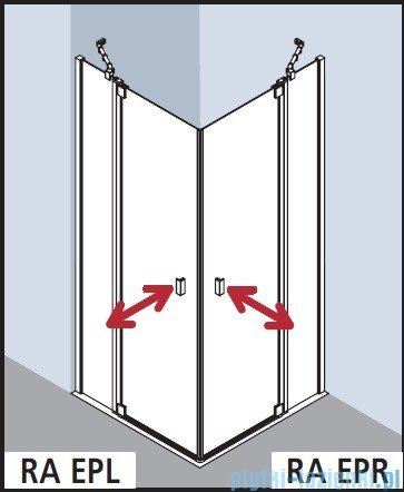 Kermi Raya Wejście narożne, 1 połowa, prawa, szkło przezroczyste, profile srebrne 100x200 RAEPR10020VAK