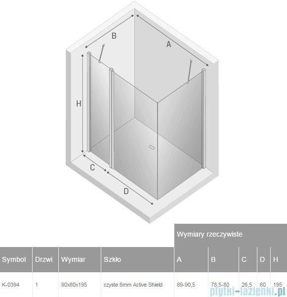New Trendy New Soleo 90x80x195 cm kabina prostokątna przejrzyste K-0394