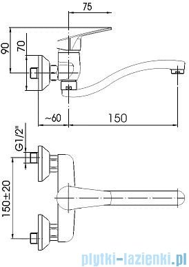 KFA RODON Bateria umywalkowo-zlewozmywakowa ścienna dł. wylotu 150 mm chrom 450-820-00