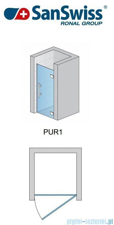 SanSwiss Pur PUR1 Drzwi 1-częściowe wymiar specjalny profil chrom szkło przejrzyste Prawe PUR1DSM11007