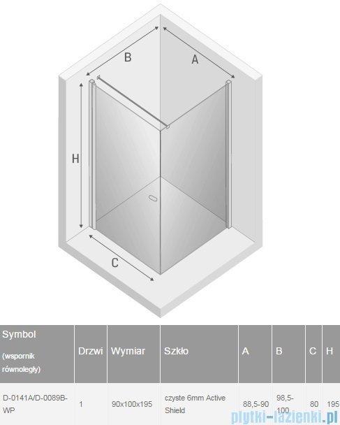 New Trendy New Soleo 90x100x195 cm kabina wspornik krzyżowy przejrzyste D-0141A/D-0089B-WP