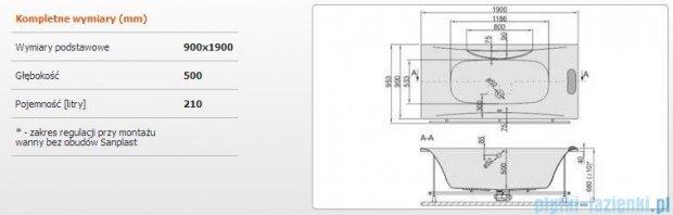 Sanplast Altus Wanna prostokątna+stelaż+reling+zagłówek WP-lx-ALT/EX 190x90+SP, 610-120-0370-01-000