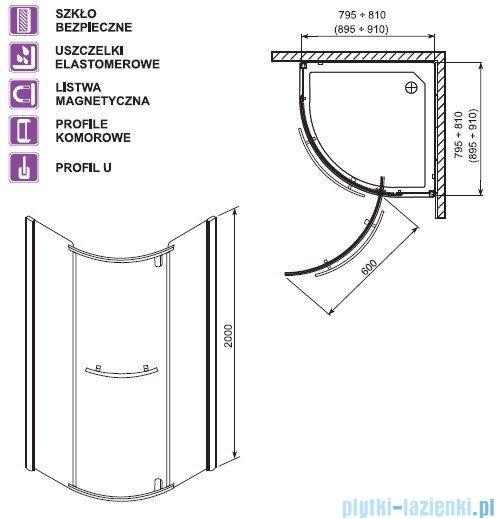 Aquaform Puenta Swing kabina prysznicowa półokrągła 80x80cm 06325