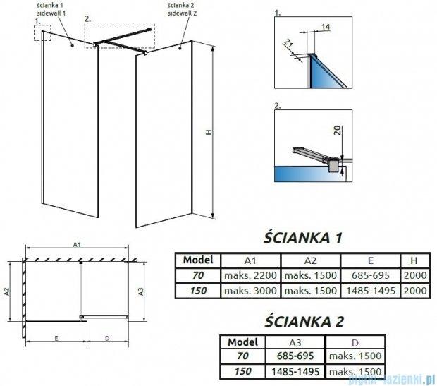 Radaway Modo New III kabina Walk-in 150x70x200 szkło przejrzyste 389154-01-01/389074-01-01/389000-01