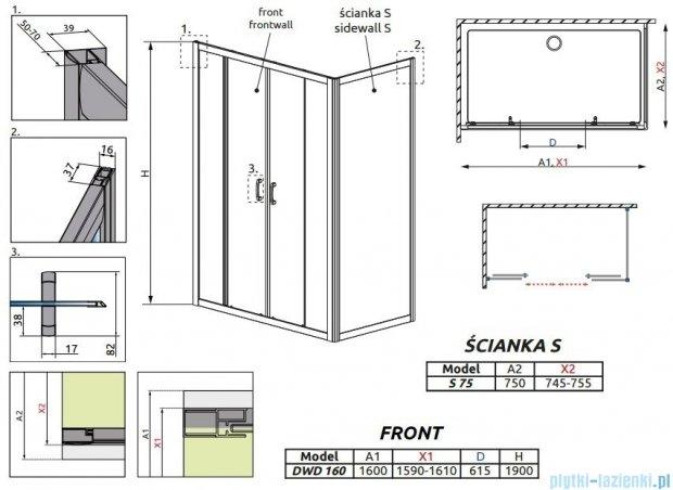 Radaway Premium Plus DWD+S kabina prysznicowa 160x75cm szkło przejrzyste 33363-01-01N/33402-01-01N