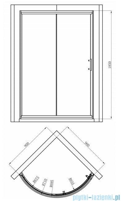 Omnires Health kabina 1-skrzydłowa prawa 90x90x185cm szkło grafit JK2209LC2PGrafit