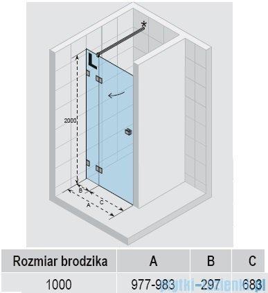 Riho Scandic Lift M104 drzwi prysznicowe 100x200 cm PRAWE GX0070202
