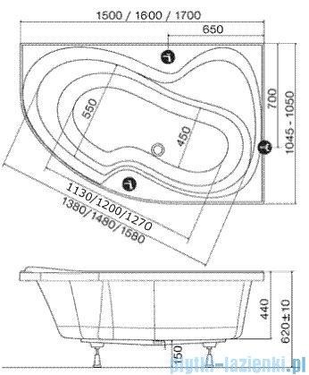 Ravak Wanna asymetryczna Rosa II 160x105cm Prawa CL21000000