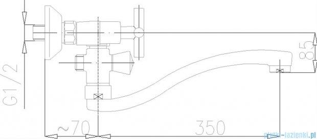 KFA SYMETRIC Bateria wannowo-umywalkowa ścienna chrom 348-710-00