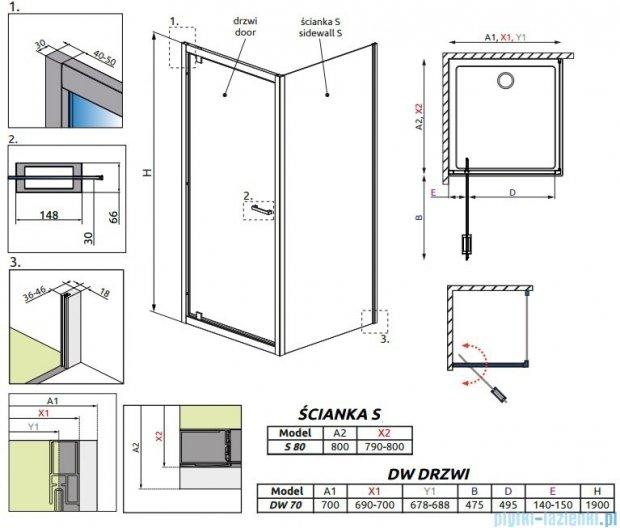Radaway Twist DW+S Kabina prysznicowa 70x80 szkło przejrzyste 382000-01/382011-01