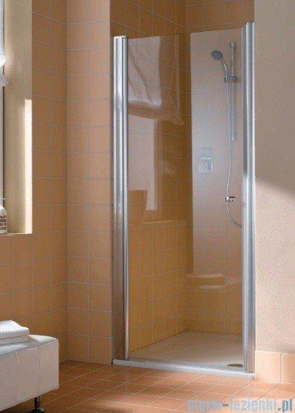 Kermi Atea Drzwi wahadłowe jednoskrzydłowe lewe, szkło przezroczyste, profile białe 80cm AT1WL080182AK