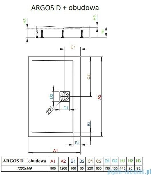 Radaway Brodzik prostokątny Argos D 120x90x14,5 cm + nogi 4ADN912-02