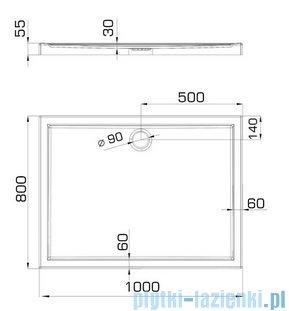 Omnires S kabina prostokątna 80x100cm szkło przejrzyste+brodzik S-80/100KTR/3.066