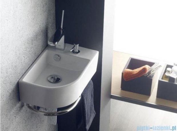 Bathco Paterna/D umywalka narożna z dozownikiem i relingiem 41x26,5 cm 4911/D