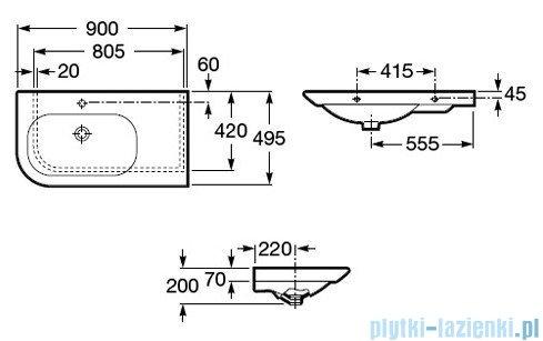 Roca Nexo Umywalka asymetryczna 90x49cm ścienna A327648000