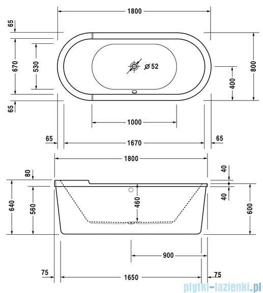 Duravit Starck wanna owalna wolnostojąca 180x80cm z obudową i nóżkami 700010 00 0 00 0000
