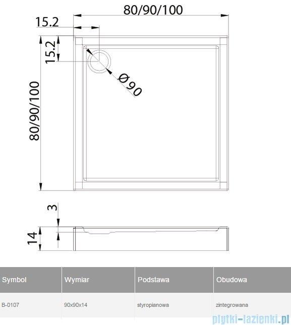 New Trendy Columbus brodzik kwadratowy zintegrowany 90x90 B-0107