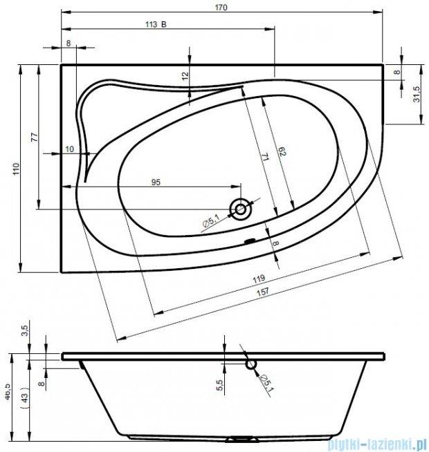 Riho Lyra wanna asymetryczna prawa 170x110 z hydromasażem TOP Aero11 BA63T1
