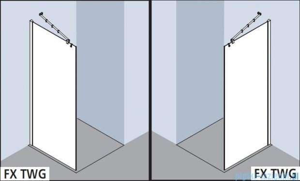 Kermi Filia Xp Ściana Walk-in Wall, stabilizator 90/przezroczyste KermiClean, profile srebrne 100x200cm FXTWF10020VPK
