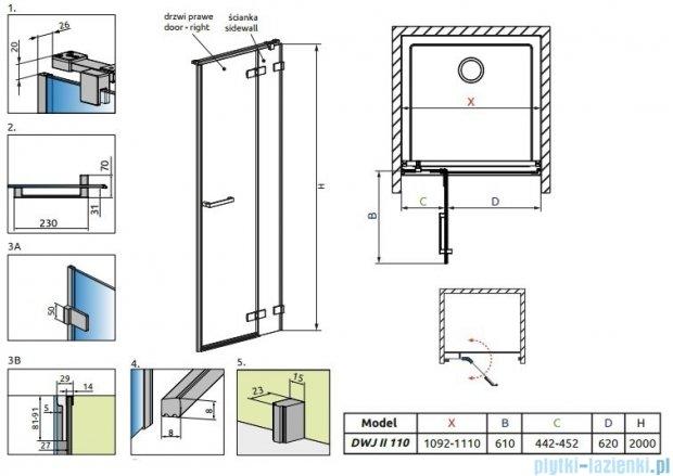 Radaway Arta Dwj II drzwi wnękowe 110cm prawe szkło przejrzyste 386441-03-01R/386013-03-01R