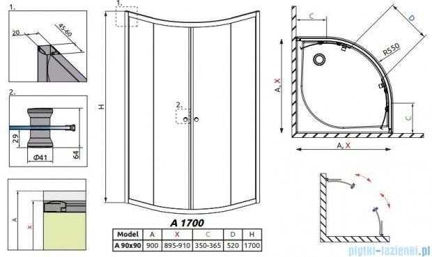 Radaway Classic A Kabina prysznicowa półokrągła z drzwiami przesuwnymi 90x90x170 szkło brązowe 30001-01-08