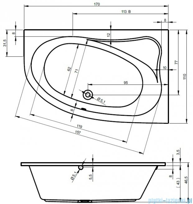 Riho Lyra wanna asymetryczna lewa 170x110 z hydromasażem TOP Hydro 6+4+2/Aero11 BA64T5