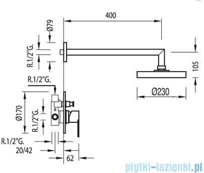 Tres M-Tres Zestaw natryskowy z baterią podtynkową kolor chrom 1.17.980