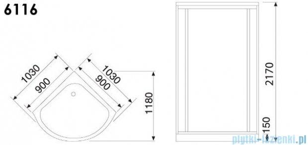 Duschy Kabina masażowo-parowa 90x90cm model 6116