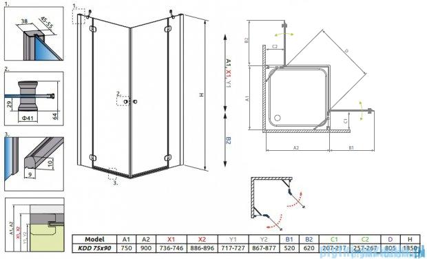 Radaway Torrenta Kdd Kabina prysznicowa 75x90 szkło przejrzyste 32282-01-01NL