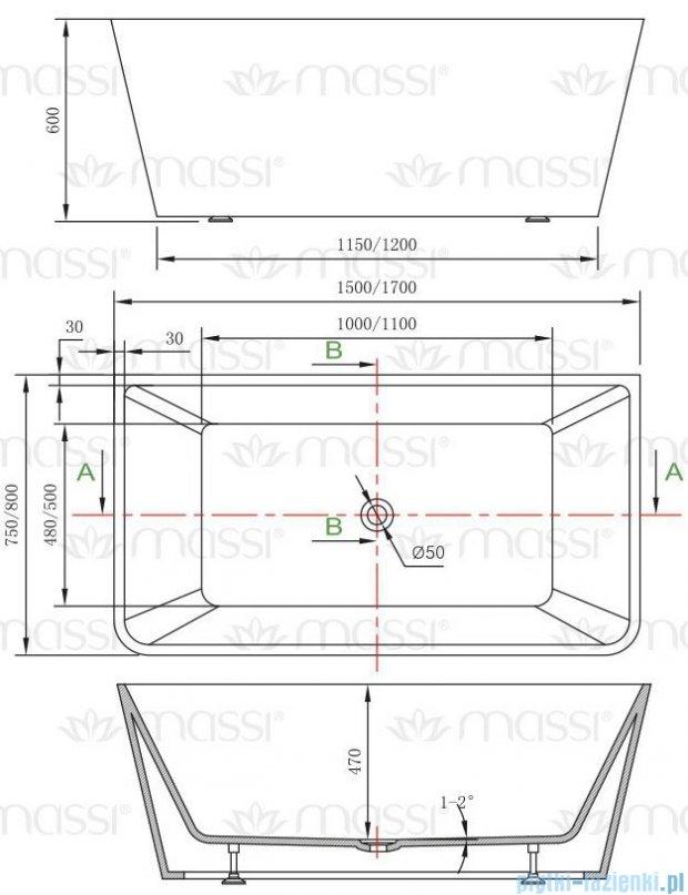 Massi Simple 150 wanna wolnostojąca prostokątna 150x75cm biała MSWA819150