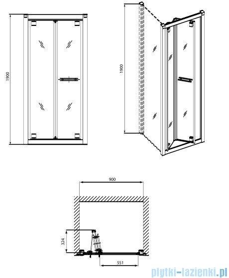 Koło Geo 6 drzwi wnękowe bifold 90cm Prismatic GDRB90205003