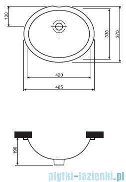 Koło Nova Top Umywalka podblatowa 46,5cm bez otworu 61846000