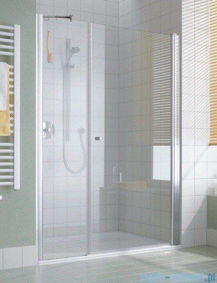 Kermi Atea Drzwi wahadłowe jednoskrzydłowe i pole stałe, lewe, szkło przezroczyste, profile srebrne 140cm AT1OL14018VAK