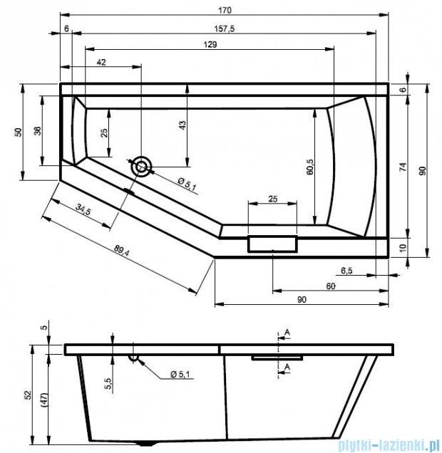 Riho Geta wanna asymetryczna 170x90cm lewa z hydromasażem PRO Hydro 6+4+2 BA89P6