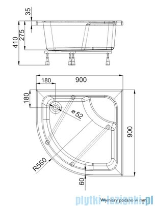 Schedpol Brodzik półokrągły z siedziskiem Doris 90x90x28cm 3.223