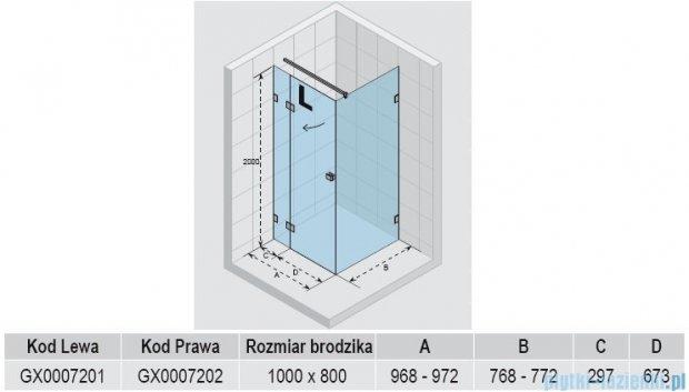 Riho Kabina prysznicowa Scandic Lift M203 100x80x200 cm LEWA GX0007201