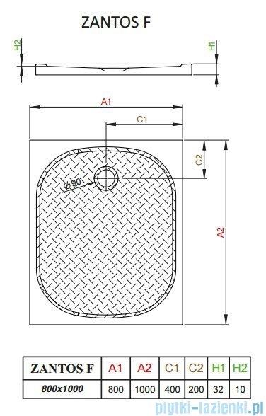 Radaway Zantos F brodzik prostokątny 100x80cm M3ZNF1080-06